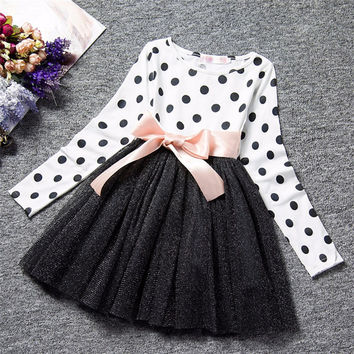 Ai Meng Baby Winter Dress For Girl Long Sleeve Bow Princess Girls School Dresses Polka Dot Toddler Girls Clothes Baby Clothing