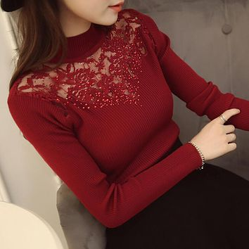 2017 new hot sale women's spring autumn turtleneck long sleeve knit sweaters women lace elasticity pullovers sweater 3 colors