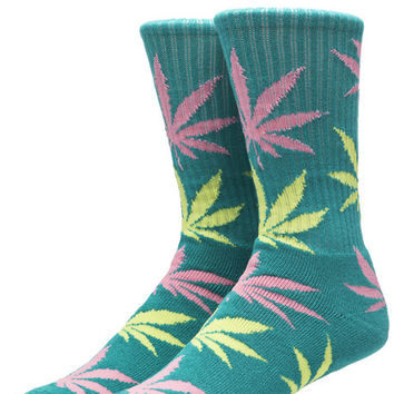 The Plantlife Crew Socks in Green, Pink, & Butter