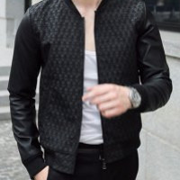 Black Waterdrop Design PU Leather Long Sleeve Jacket