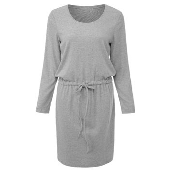 Stylish Scoop Collar 3/4 Sleeve Pure Color Drawstring Kitted Women's Dress