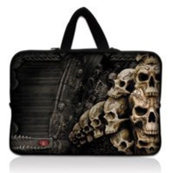 "Many Skull 10.1"" 10.2"" Netbook Laptop Carrying Sleeve Case Bag Cover+ Hide Handle For 9.7""-10.2"" Apple, ASUS,ACER, HP,DELL"