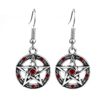 Vintage Silver Plated Supernatural Crystal Drop Earrings Big Pentagram Statement Earring For Women Brand Jewelry Party Gift