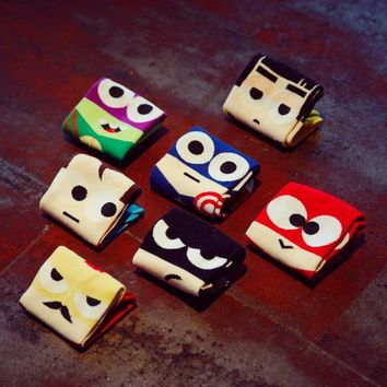 Plue Size Marvel Heros Boat Socks Hip Hop Batman Superman SpiderMan Captain America Avengers No Show Invisible Socks 7Pairs/Lot
