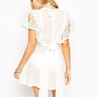 French Connection Lori Lace Frill Beach Dress at asos.com
