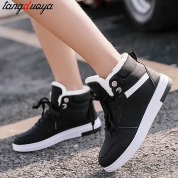 winter boots women ankle boots warm winter woman shoes sneakers flats lace up ladies shoes women short snow boots 2018