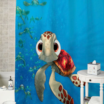 Squirt-Finding Nemo special shower curtains that will make your bathroom adorable.