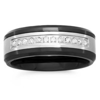 Stainless Steel and Black Ceramic .12 cttw Diamond Single Row Men's Wedding Band