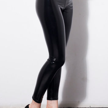 Licorice Black Vinyl Leggings by DEVOWEVO