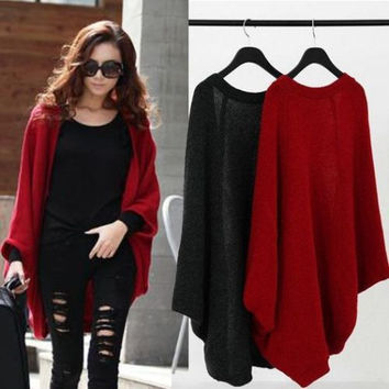 UK Women's Spring Batwing Top Knit Cape Cardigan Long Sleeve Coat Sweater