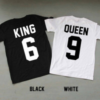 King and Queen Shirts Couples Shirts T Shirt T-Shirt TShirt Tee Shirt Unisex - Size XS S M L XL XXL