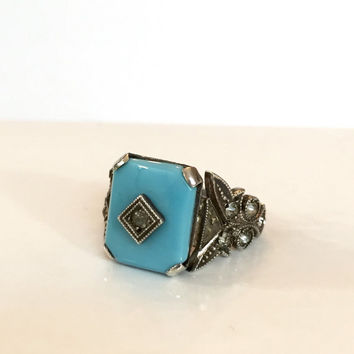 Antique Edwardian Ring Victorian Blue Emerald Cut Glass Sterling Silver Faceted Paste Crystal Art Deco Ring Vintage Estate Jewelry 1910-20