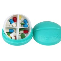 Fashion Light Blue Portable Round 4 Compartment Pill Case Pill Organizer Medicine Box Drugs Pill Container