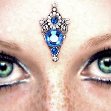 Blue Vine Bindi, tribal fusion bellydance, fairy jewelry, fantasy, Renaissance faire, gypsy costume, sapphire blue, wicca, pagan, third eye