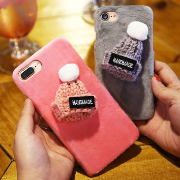Cute 3D Cartoon Knitted Hat Hard Case For Iphone 6S 6 7 Plus Luxury Plush Fuzzy Back Cover Cases For Iphone6 6S Plus Christmas