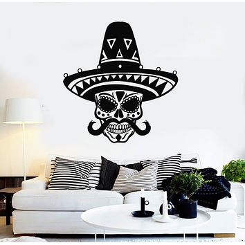 Vinyl Wall Decal Mexican Day Of Dead Tradition Sombrero Skeleton Stickers Mural (g968)