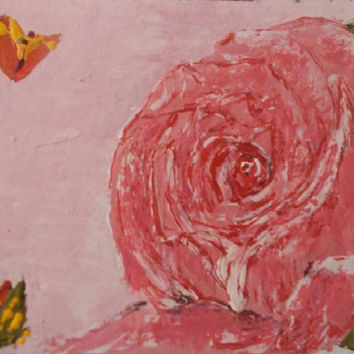Pink Rose with butterflies   Aceo Original Acrylic painting Flowers  art    Aceo Gift  size 6.40 / 8.96 cm / .2.5 x 3.5 Inch