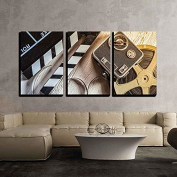 "wall26 - 3 Piece Canvas Wall Art - Film Camera Chalkboard, Vintage Camera and Roll on Wooden Table - Modern Home Decor Stretched and Framed Ready to Hang - 24""x36""x3 Panels"