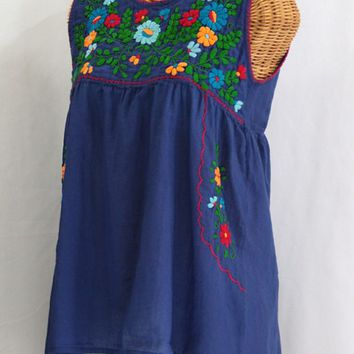 """""""La Pasea"""" Embroidered Mexican Style Peasant Top -Royal Blue"""