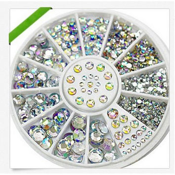 Hot sale Nail Art Rhinestone Crystal Nail Decoration Shining Nail Art With Wheel Charming DIY Art Decoration