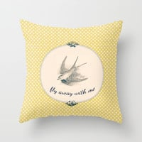 Fly Away With Me Throw Pillow by ALLY COXON