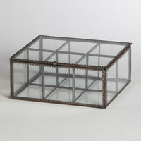 Bronze Rim Glass Tea Box | World Market