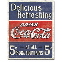 COKE - Delicious 5 Cents Metal Tin Sign , 12x16