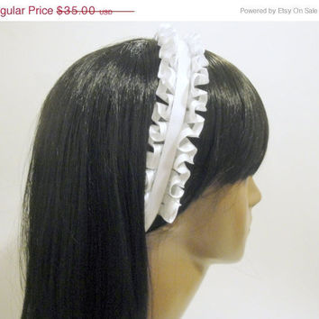 White Bridal Headband Hair Accessory Chic Trendy Bridal Simple Chic Modern