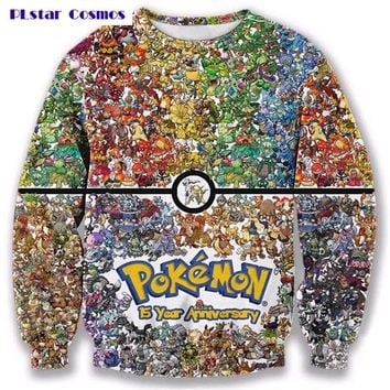 PLstar Cosmos 2017 New 3d Sweatshirt  Crewneck pullover Women Men 90s video game and anime Sweats jumper Fashion clothesKawaii Pokemon go  AT_89_9