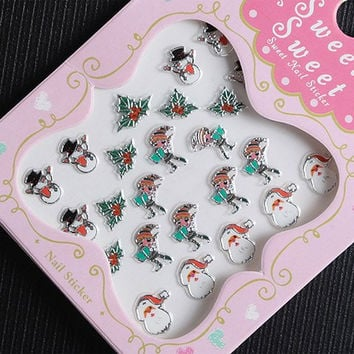 One Piece Xmas Kids and Snowman Pattern 3D Nail Sticker