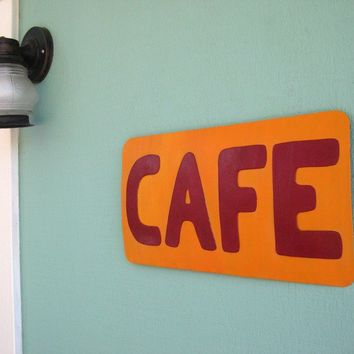 Recycled Metal Sign Cafe by frivoloustendencies on Etsy