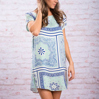 The One I Love Dress, Mint-Indigo