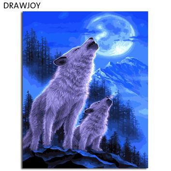 DRAWJOY Framed Animal Wolf DIY Painting By Numbers On Canvas Painting And Calligraphy Wall Art For Home Decor 40x50