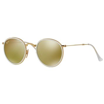 Ray-Ban RB3517 001/93 Round Folding Yellow Flash Lens Gold Frame Sunglasses