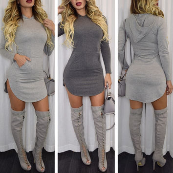 Light Gray Hooded Long Sleeve Bodycon Mini Dress