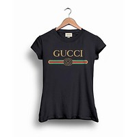 GUCCI Tide brand classic letter printing logo couple models short-sleeved T-shirt Black