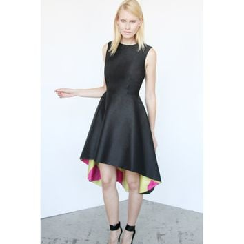 Black With Yellow And Pink Lining Print A-line Dress