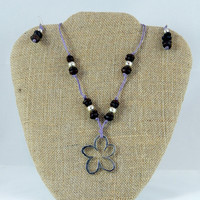 Flower and Coffee Bean Necklace