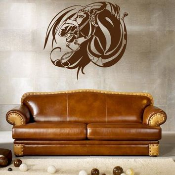 ik682 Wall Decal Sticker head horse nag pet stallion thoroughbred horse bedroom