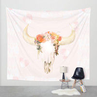 Romantic Boho Buffalo Wall Tapestry by Kangarui By Rui Stalph