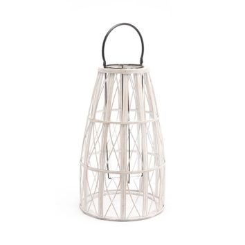 Bamboo And Steel And MDF Web Lantern Large, In White