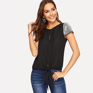Sequin Sleeve Knot Hem Blouse Casual Solid Split Cap Sleeve Round Neck Blouse Women Tops and Blouses