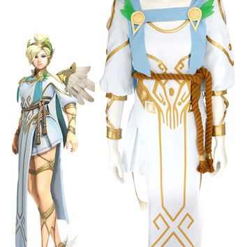 OW Angela Ziegler Mercy Victory Summer Skin Cosplay Costume Custom Made Full Set