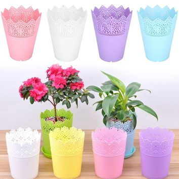 Flower Pots Pen Container Lace Plant Vase Pot Contemporary Beautiful Pink/white/blue/purple Plastic Flower Vase