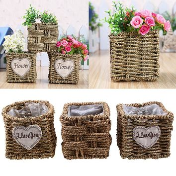 Straw Handmade Dried Flower Baskets Garden Flowerpot Wicker Rattan Sundries Food Snacks Storage Basket Home Desktop Decoration