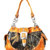 Western Orange Camouflage Buckle Rhinestone Handbag