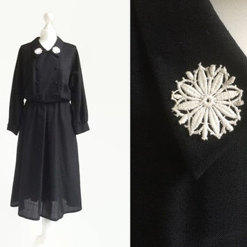Black Vintage Dress - Collar Dress - Shirt Dress - Midi Dress