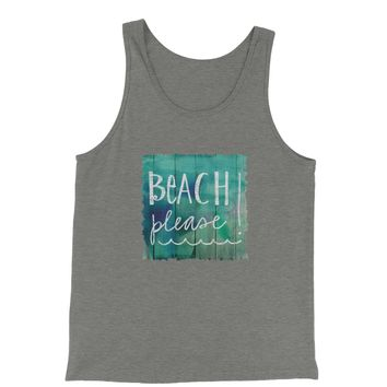 Beach Please Wood Background Jersey Tank Top for Men