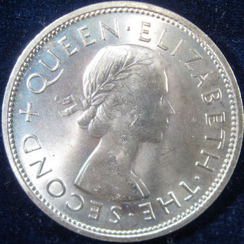 Large Crown Coin,New Zealand Coin, 1953, New Zealand Crown Coin, Queen Elizabet Coin, Queen Elizabeth Crwon Coin, Collectible UNC Crown Coin