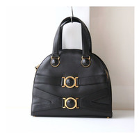 Gianni Versace Bag Black Medusa Leather Tote Authentic Vintage Purse